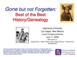 Gone  but not Forgotten: Best of the Best History/Genealogy
