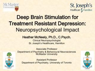 Deep Brain Stimulation for  Treatment Resistant Depression: Neuropsychological Impact