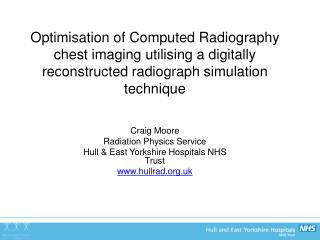 Craig Moore Radiation Physics Service Hull & East Yorkshire Hospitals NHS Trust hullrad.uk