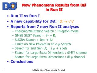 New Phenomena Results from DØ  in Run II