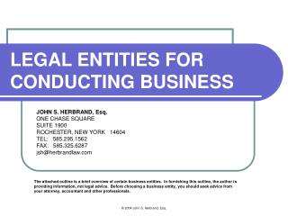LEGAL ENTITIES FOR CONDUCTING BUSINESS