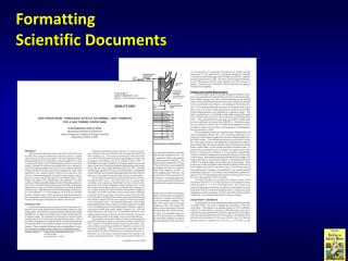 Formatting  Scientific Documents