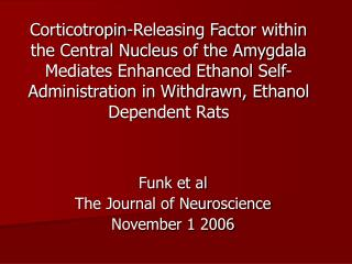 Funk et al The Journal of Neuroscience November 1 2006