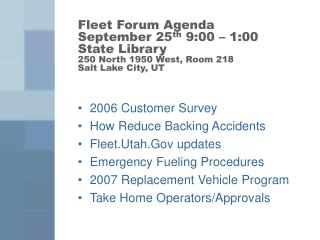 2006 Customer Survey How Reduce Backing Accidents Fleet.Utah.Gov updates