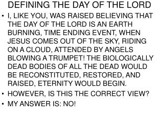 DEFINING THE DAY OF THE LORD