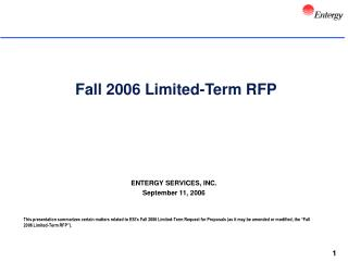 Fall 2006 Limited-Term RFP