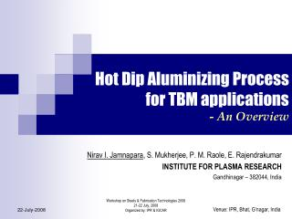 Hot Dip Aluminizing Process for TBM applications - An Overview