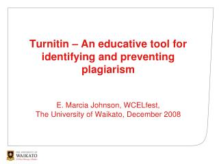 Turnitin – An educative tool for identifying and preventing plagiarism