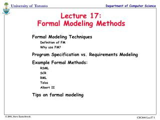 Lecture 17: Formal Modeling Methods