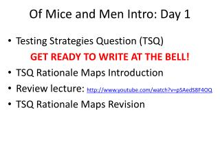 Of Mice and Men Intro: Day 1