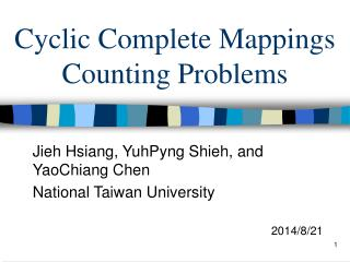 Cyclic Complete Mappings Counting Problems