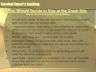 Survival Expert's Ranking: