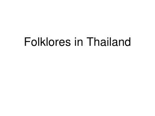 Folktales and Their Significance