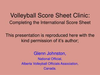 Volleyball Score Sheet Clinic: