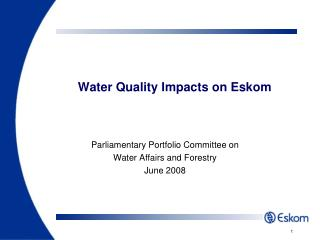 Water Quality Impacts on Eskom