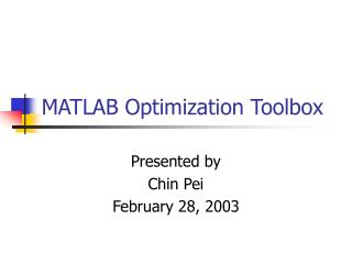 MATLAB Optimization Toolbox