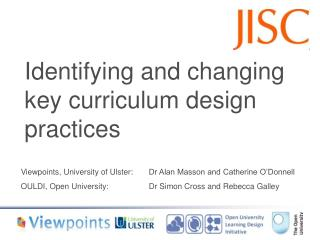 Identifying and changing key curriculum design practices