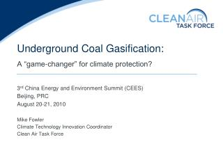 Underground Coal Gasification: