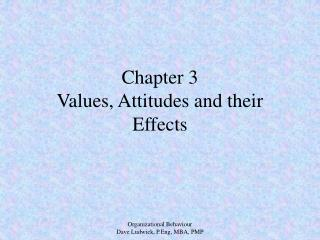 Chapter 3 Values, Attitudes and their Effects