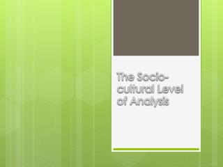 The Socio-cultural Level of Analysis