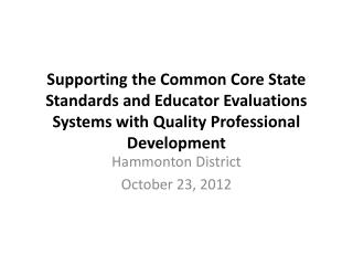Hammonton District  October 23, 2012