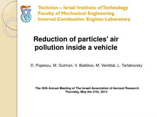 Reduction of particles' air pollution inside a vehicle