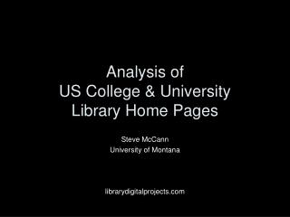 Analysis of  US College & University  Library Home Pages
