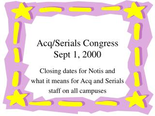 Acq/Serials Congress Sept 1, 2000