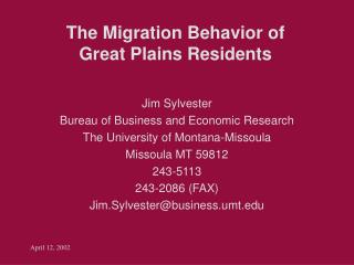The Migration Behavior of  Great Plains Residents