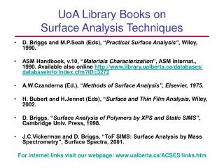 UoA Library Books on  Surface Analysis Techniques