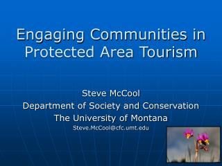 Engaging Communities in  Protected Area Tourism