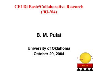 CELDi Basic/Collaborative Research  ('03-'04)