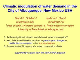 Climatic modulation of water demand in the City of Albuquerque, New Mexico USA