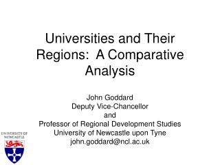 Universities and Their Regions:  A Comparative Analysis