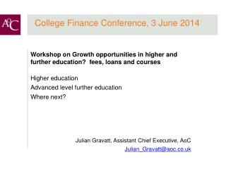 College Finance Conference, 3 June 2014