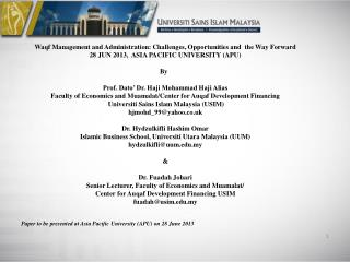 Waqf Management and Administration: Challenges, Opportunities and  the Way Forward
