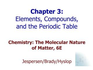 Chapter 3:  Elements, Compounds, and the Periodic Table