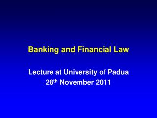 Banking and Financial Law