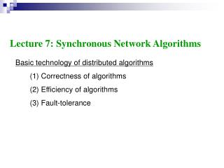 Basic technology of distributed algorithms        (1) Correctness of algorithms