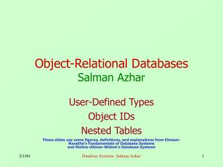 Object-Relational Databases Salman Azhar