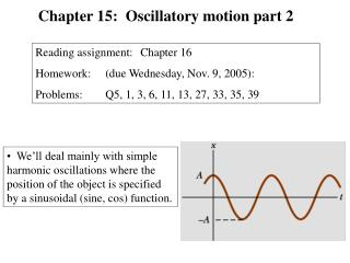 We'll deal mainly with simple harmonic oscillations where the position of the object is specified by a sinusoidal (sine,