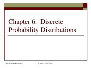 Chapter 6.  Discrete Probability Distributions