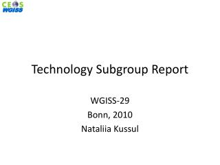 Technology Subgroup Report