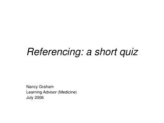 Referencing: a short quiz
