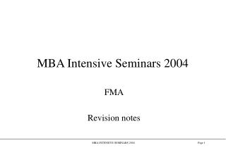 MBA Intensive Seminars 2004