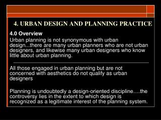4. URBAN DESIGN AND PLANNING PRACTICE