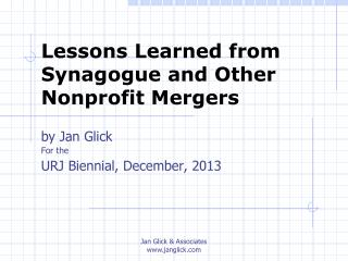 Lessons Learned from Synagogue and Other Nonprofit Mergers