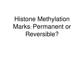 Histone Methylation Marks :  Permanent or Reversible?