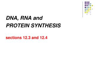 DNA, RNA and  PROTEIN SYNTHESIS sections 12.3 and 12.4