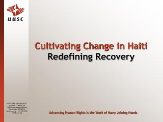 Cultivating Change in Haiti  Redefining Recovery